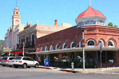 Old Town Digital Art - The Heart Of Sonoma California 5d24484  by Wingsdomain Art and Photography