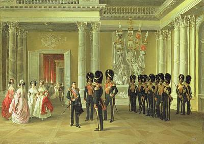 Gathering Photograph - The Heraldic Hall In The Winter Palace, St Petersburg, 1838 Oil On Canvas by Adolphe Ladurner