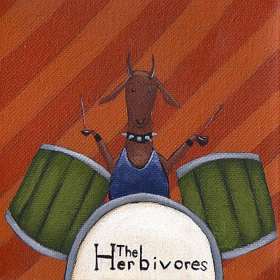 Drum Painting - The Herbivores by Christy Beckwith
