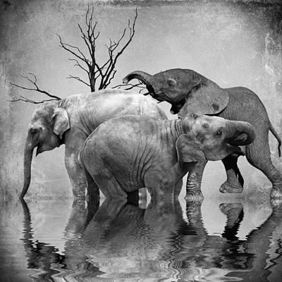 Elephant Mixed Media - The Herd 3 by Sharon Lisa Clarke