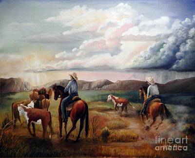 Horse Painting - The Herd by Sandra Aguirre