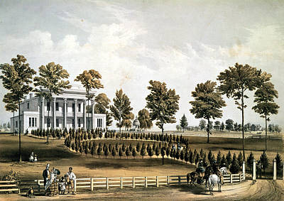 The Hermitage, Jacksons Tomb And Andrew J. Donelsons Residence, 12 Miles From Nashville Tennessee Print by American School