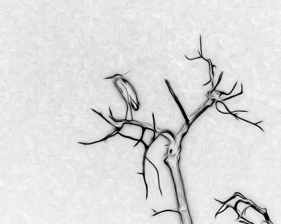 Heron Digital Art - The Heron by Ernie Echols