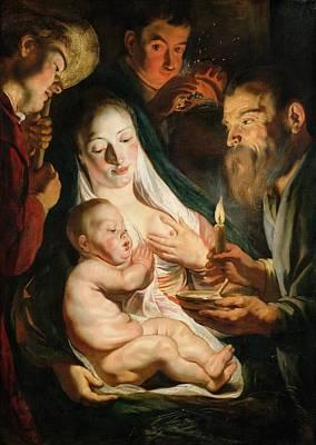 Dutch Shepherd Painting - The Holy Family With Shepherds by Jacob Jordaens