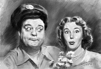 Jackie Gleason Drawing - The Honeymooners by Viola El