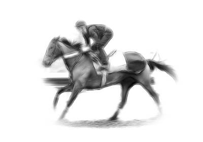 Jockey Drawing - The Horseman by Stefan Kuhn