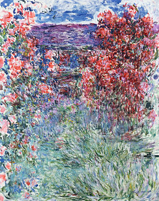 The House At Giverny Under The Roses Print by Claude Monet