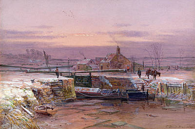Locks Painting - The House By The Canal by Charles Brooke Branwhite