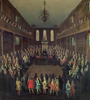 The House Of Commons In Session, 1710 Oil On Canvas Print by Peter Tillemans