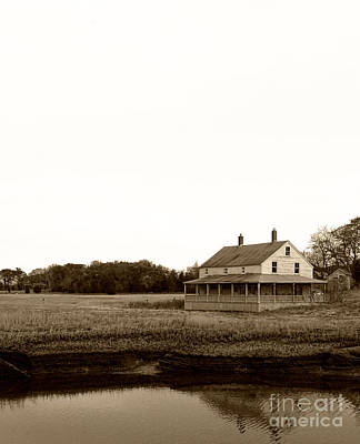 The House On Essex Salt Marsh-sepia Print by K Hines