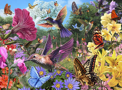 The Hummingbird Garden Print by Steve Read
