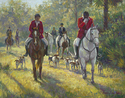 Women On Horses Painting - The Hunt by Laurie Hein