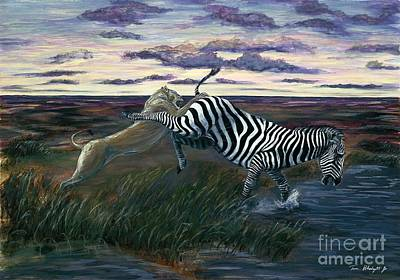 Zebra In Painting - The Hunt by Tom Blodgett Jr