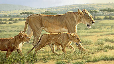 Kenya Painting - The Hunting Lesson by Paul Krapf
