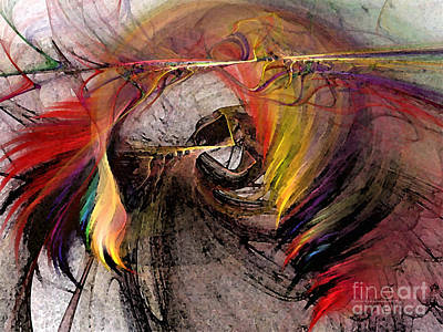 Luminous Digital Art - The Huntress-abstract Art by Karin Kuhlmann