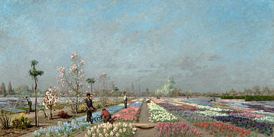 Belgium Painting - The Hyacinth Fields In Bloom At The Van by Adrien Louis Demont