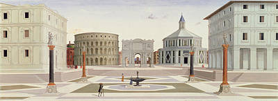 Piazza Drawing - The Ideal City by Fra Carnevale