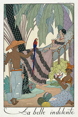 Watermelon Painting - The Idle Beauty by Georges Barbier