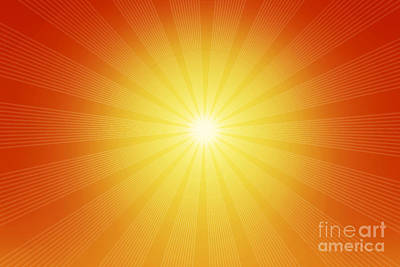 Graphic Photograph - The Illustration Of The Shining Sun And Warm Yellow Red Rays by Michal Bednarek