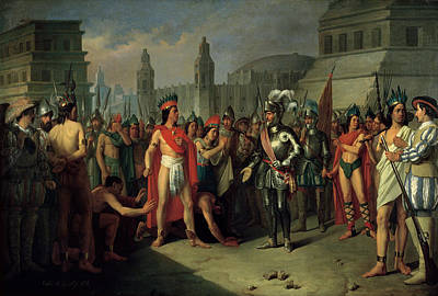 The Imprisonment Of Guatimocin By The Troops Of Hernan Cortes, 1856 Oil On Canvas Print by Carlos Maria Esquivel