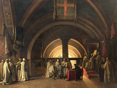 Scribes Photograph - The Inauguration Of Jacques De Molay Into The Order Of Knights Templar In 1295 Oil On Canvas by Francois-Marius Granet