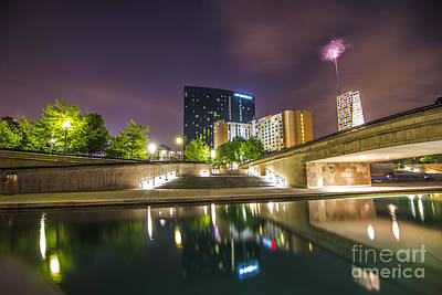 The Indianapolis Jw Marriott Night Canal Print by David Haskett