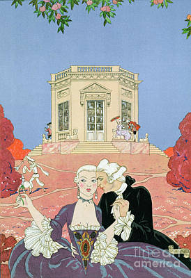 Lovers Painting - The Indolents by Georges Barbier