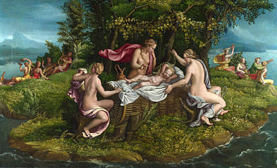 Giulio Romano Painting - The Infancy Of Jupiter by Workshop of Giulio Romano