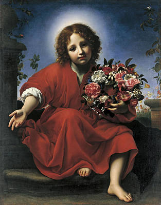 Wreath Painting - The Infant Christ With A Floral Wreath by Carlo Dolci