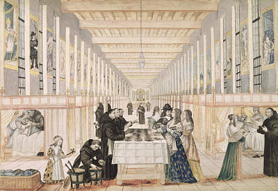 The Infirmary Of The Sisters Of Charity During A Visit Of Anne Of Austria  Print by Abraham Bosse