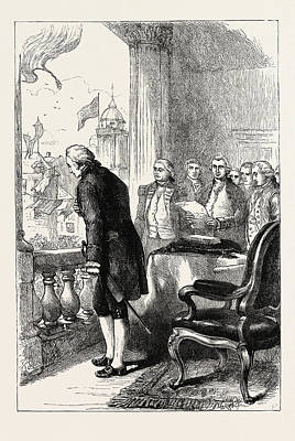 George Washington Drawing - The Installation Of George Washington, United States by American School