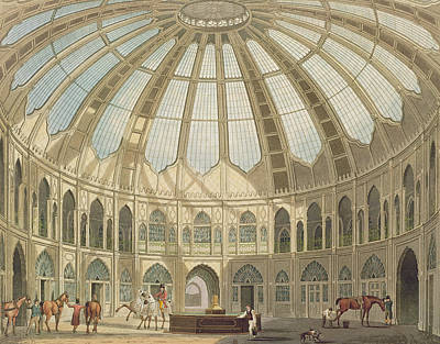 The Royal Family Painting - The Interior Of The Stables by John Nash