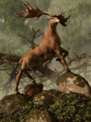 Paleoart Digital Art - The Irish Elk by Daniel Eskridge
