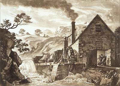 Chimney Drawing - The Iron Forge Between Dolgelli by Paul Sandby