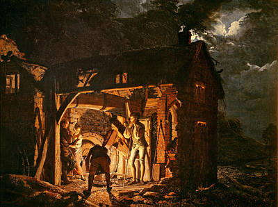 Moonlit Night Photograph - The Iron Forge Viewed From Without, C.1770s Oil On Canvas by Joseph Wright of Derby