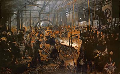 Cyclops Photograph - The Iron-rolling Mill Oil On Canvas, 1875 by Adolph Friedrich Erdmann von Menzel