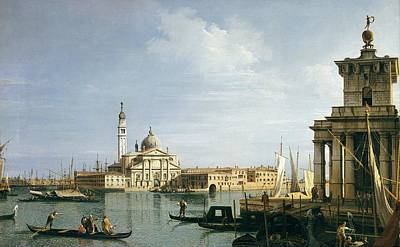 Custom House Tower Print featuring the painting The Island Of San Giorgio Maggiore by Canaletto