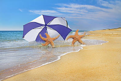Starfish Digital Art - The Island To Ourselves  by Betsy Knapp