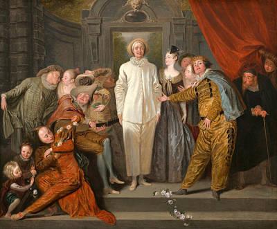 Antoine Watteau Painting - The Italian Comedians by Antoine Watteau