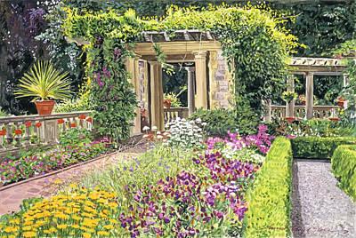 Gouache Painting - The Italian Gardens Hatley Park by David Lloyd Glover