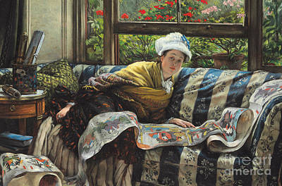 Artifacts Painting - The Japanese Scroll by Tissot
