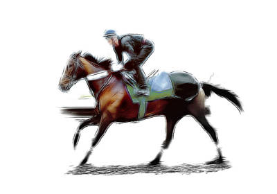 Jockey Drawing - The Jockey by Stefan Kuhn