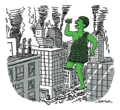 Godzilla Drawing - The Jolly Green Giant Walks Like Godzilla by Joe Dator