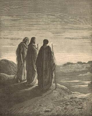 The Journey To Emmaus Print by Antique Engravings