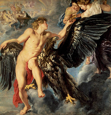 The Gods Of Olympus Painting - The Kidnapping Of Ganymede by Rubens