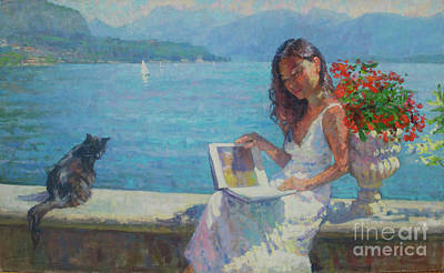 Lake Como Painting - The King And The Queen by Jerry Fresia