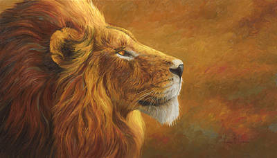Lion Painting - The King by Lucie Bilodeau
