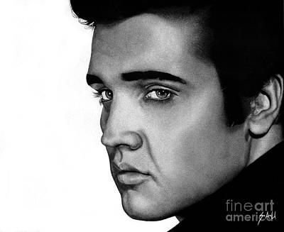 Elvis Presley Drawing Drawing - The King by Sheryl Unwin