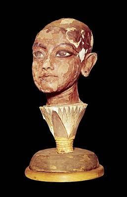 The King Tutankhamun On A Lotus Flower Print by Everett