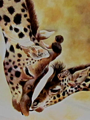 Mother And Baby Giraffe Painting - The Kiss Mother Love by Susan Duxter